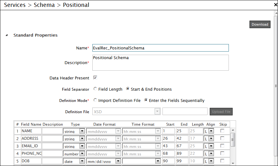 Creating Positional Schema Activity - Adeptia Suite Help